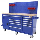 George Tools filled workbench on wheels blue - 156 pieces