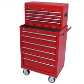 George Tools roller cabinet with tool chest 12 drawers red