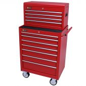 George Tools roller cabinet with tool chest 11 drawers red