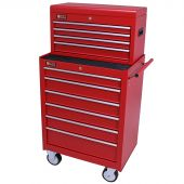George Tools roller cabinet with tool chest 10 drawers red