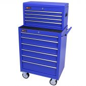 George Tools roller cabinet with tool chest 10 drawers blue