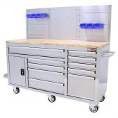 George Tools filled mobile workbench 62 inch Stainless Steel 156-pcs
