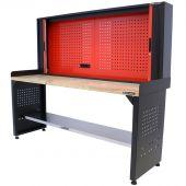 Kraftmeister workbench with back panel oak 200 cm - black