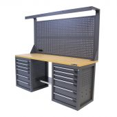 Kraftmeister workbench with back panel 12 drawers MDF 200 cm grey