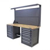Kraftmeister workbench with back panel 12 drawers Oak 200 cm grey