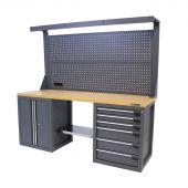 Kraftmeister workbench with back panel 6 drawers 2 doors MDF 200 cm grey