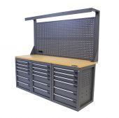 Kraftmeister workbench with back panel 18 drawers MDF 200 cm grey