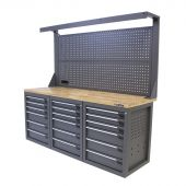 Kraftmeister workbench with back panel 18 drawers Oak 200 cm grey