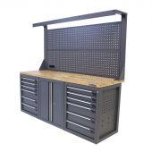 Kraftmeister workbench with back panel 12 drawers 2 doors Oak 200 cm grey