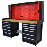 Kraftmeister workbench with back panel 12 drawers MDF 200 cm black