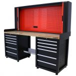 Kraftmeister workbench with back panel 12 drawers Oak 200 cm black